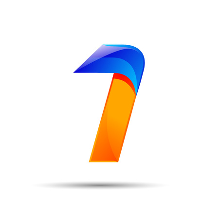 Number one 1 logo orange and blue color with fast speed lines. Vector design for banner, presentation, web page, card, labels or posters.
