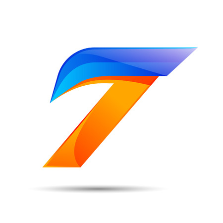 Number seven 7 logo orange and blue color with fast speed lines. Vector design for banner, presentation, web page, card, labels or posters.