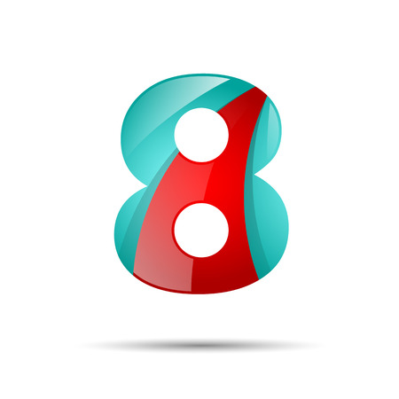 Number eight 8 colorful 3d volume icon. Vector design for banner, presentation, web page, card, labels or posters.