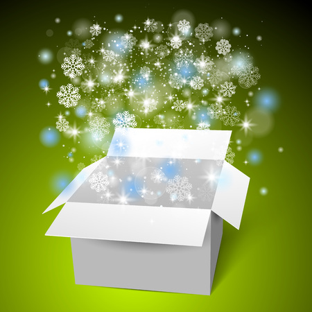 Open white gift box on the snow. Christmas green background. Illustration