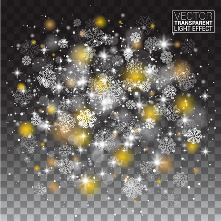 cluster: Snowflakes, snowfall magical Lights on transparent background. Light snow effect. Vector glowing sphere shining stardust sparkles. Glittering flash cluster, cloud illumination. Christmas miracle. Illustration