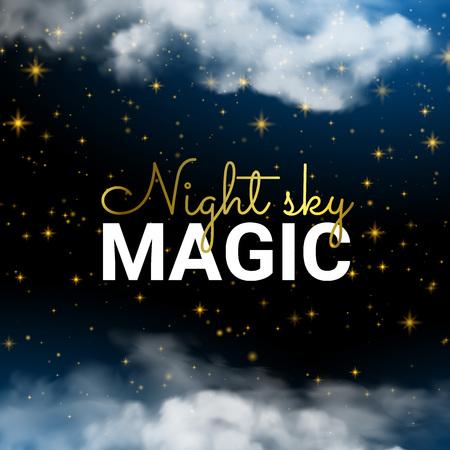 Infinity Magic Night Sky Cloud Blue  and Shining Stars. Holiday Shining Motion Design Card.