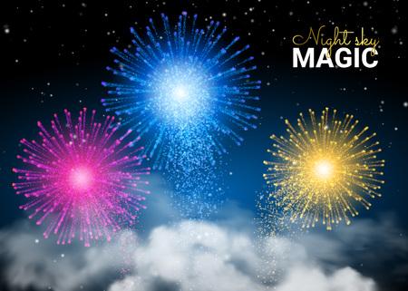 Festive Brightly Colorful Shiny Firework on Dark Night Sky. Holiday Shining. Infinity Blue  and Shining Stars. Illustration