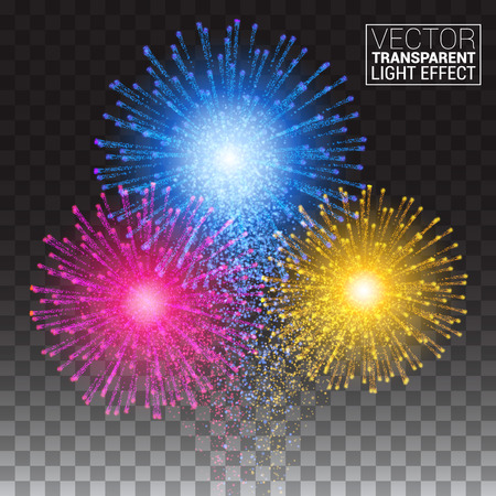 Shiny tricolor firework on the dark sky. Festive brightly colorful bursting. Isolated on a transparent background. Vector illustration.