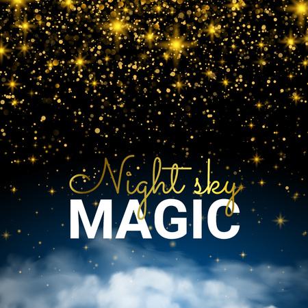 Festive Sparkling Gold. Infinity Magic Starry Night Sky. Cloud Blue and Shining Stars. Holiday Shining Motion Card Shining Luxury Design. Illustration