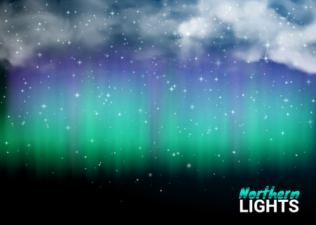 Deep Night Dark Sky Magic Fabulous with Clouds and Realistic Colored Northern or polar lights. Starry Night Sky Aurora Beautiful Natural Effect for Design Projects. Vector Illustration.