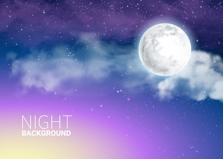 Mystical Sky Full Moon Against the background of the galaxy and Milky Way. Moonlight night. Realistic clouds. Shining Stars on dark blue sky. Vector illustration background.