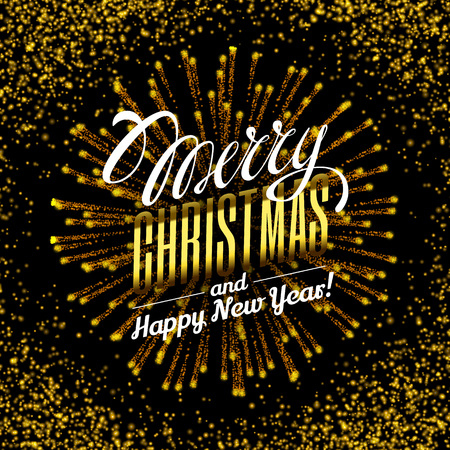 luster: Effect gold luster luxury design rich background. Text Merry Christmas lettering design. Stardust spark the explosion on a black background. Luxury golden texture. Vector Illustration. Illustration