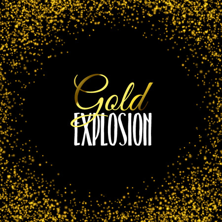 celebratory: Luxury golden texture. Gold frame glitter texture isolated on black. Golden color of winners. Gilded abstract particles. Explosion of confetti shine. Celebratory background. Vector illustration.