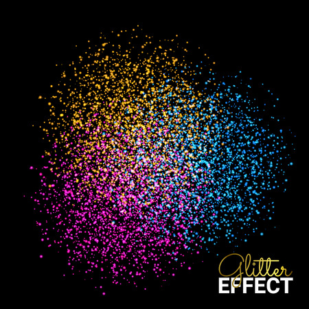 Abstract Colorful Burst Effect of Colors Paint Splash Glitter on Dark Background. Element for your design.