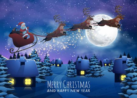 Vuelo de Papá Noel en un trineo con los ciervos. casas de Navidad en la noche nevada. Feliz Navidad y Feliz Año Nuevo tarjeta. navidad pueblo Invierno en el cartel.