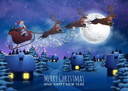 Santa Claus Flying on a Sleigh with Deer. Christmas houses in snowfall night. Merry Christmas and Happy New Year card. Winter village xmas poster. Illustration