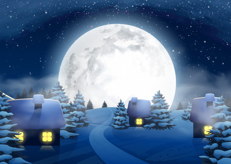 printed material: Christmas Winter Big Full Moon Night Landscape with Small Houses for Postcard Website Graphic Congratulation Printed Material. Happy New Year 2017. Illustration Background in Cartoon Style.