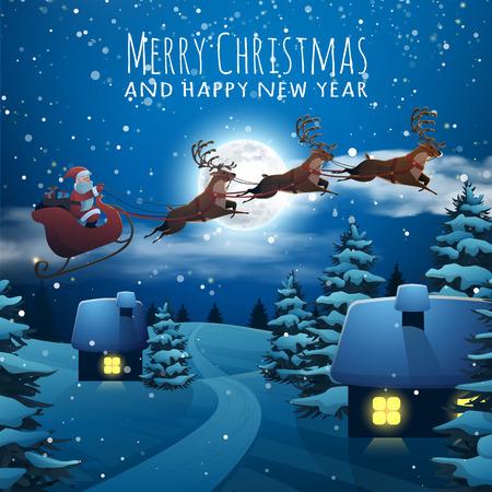 Vrolijk Kerstfeest en Gelukkig Nieuwjaar kaart. Kerstman die op een slee met Herten. Kerstmis huizen in sneeuwval 's nachts. dorp xmas winter poster.