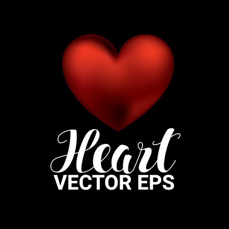 Love romantic 3D Realistic Red Hearts on black Background. Valentines day. Vector Illustration