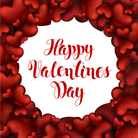 3d realistic red hearts with lettering happy valentines day greetings in white circle background holiday