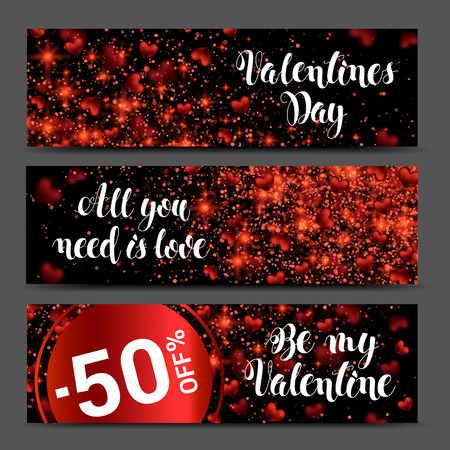 Hearts on abstract love background banner set. Be my valentine. Romantic messages with. February 14 Valentines day card. Three Dimensional red Heart. Vector Illustration. Illustration