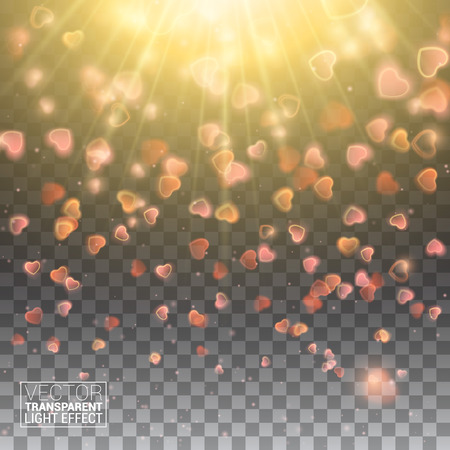 de focused: Valentines Day with Bokeh Falling Hearts and Confetti. De focused and glittering separated elements. Vector Illustration Effect Isolated on transparent background. Illustration