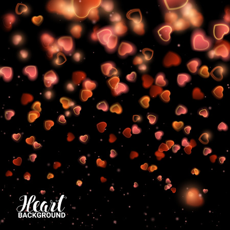 de focused: Valentines Day with Bokeh Falling Effect Hearts and Confetti. De focused and glittering separated elements. Vector Illustration on black background.