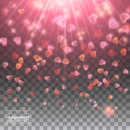 de focused: Happy Valentines Day with Shiny Hearts Sparkles Bokeh Effect Confetti De Focused Illuminated Blurred Glittering Elements. Illustration Isolated Layers and Transparent.