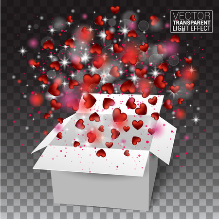 Gift box present with fly hearts Valentines day. Red Heart Confetti Glitters. Glowing Light Effects Realistic. Vector Illustration Effect Isolated on transparent background.
