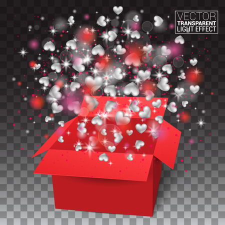 Valentines day isolated Surprise gift box. 8 march. Flying Pink red hearts for holiday. Love is in the air. Womens day. Vector Illustration Effect on transparent background.