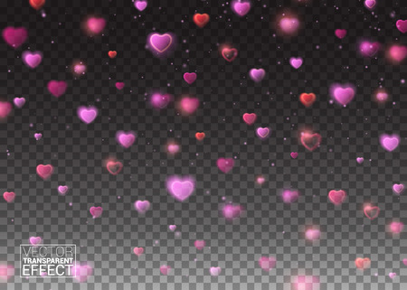 de focused: De focused and glittering separated elements. Valentines day background with bokeh effect falling hearts and confetti on transparent background.