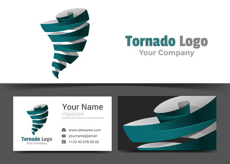 tornadoes: Tornadoes Corporate Logo and Business Card Sign Template. Creative Design with Colorful Logotype Visual Identity Composition Made of Multicolored Element. Vector Illustration.