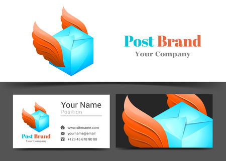 Delivery Post Corporate Logo and Business Card Sign Template. Creative Design with Colorful Logotype Visual Identity Composition Made of Multicolored Element.