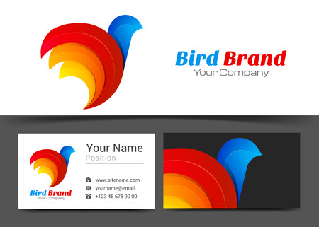 Bird Stylized Corporate Logo and Business Card Sign Template. Creative Design with Colorful Logotype Visual Identity Composition Made of Multicolored Element. Vector Illustration.