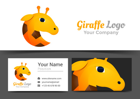 Giraffe Corporate Logo and Business Card Sign Template. Creative Design with Colorful Logotype Visual Identity Composition Made of Multicolored Element. Vector Illustration.