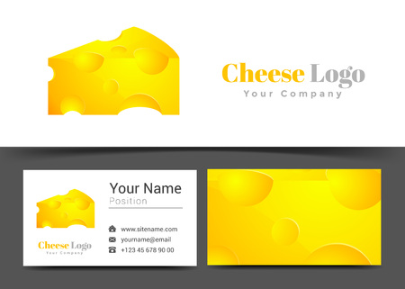 ingedient: Yellow Cheese Corporate Logo and Business Card Sign Template. Creative Design with Colorful Logotype Visual Identity Composition Made of Multicolored Element. Illustration