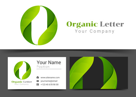 O Letter with Green Leaves Corporate Logo and Business Card Sign Template. Creative Design with Colorful Logotype Visual Identity Composition Made of Multicolored Element. Vector Illustration. Logo