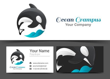 Grampus-Wellen-Unternehmenslogo und Visitenkarte-Zeichen-Schablone. Kreatives Design mit bunten Logotype Visual Identity Zusammensetzung aus mehrfarbigen Element. Vektor-Illustration.