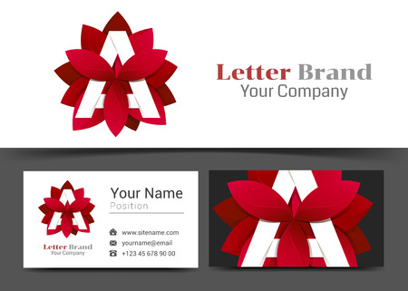 Creative Red Leaf Letter A Corporate Logo and Business Card Sign Template. Creative Design with Colorful Logotype Visual Identity Composition Made of Multicolored Element. Vector Illustration.
