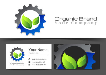 modified: Gear Food Corporate Logo and Business Card Sign Template. Creative Design with Colorful Logotype Visual Identity Composition Made of Multicolored Element. Vector Illustration. Illustration