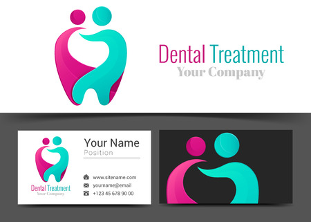 Dentist Corporate Logo and Business Card Sign Template. Creative Design with Colorful Logotype Visual Identity Composition Made of Multicolored Element. Vector Illustration.