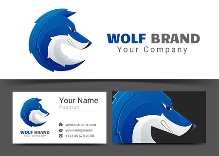 Corporate and business card wolf sign template. Creative design with colorful business visual identity composition made of multicolored element. Illusztráció