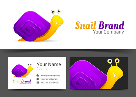 Snail Corporate and business card sign template. Creative design with colorful business visual identity composition made of multicolored element.