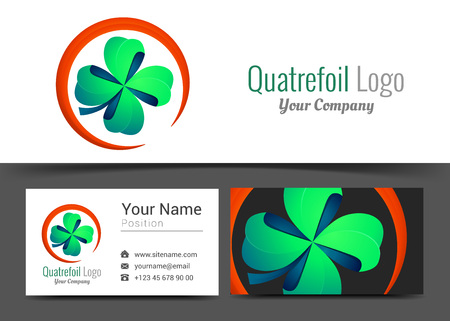goodluck: Four Leaf Green Clover Lucky Quatrefoil Good Luck Corporate Logo and Business Card Sign Template. Creative Design with Colorful Logotype Identity Composition Multicolored Element. Vector Illustration.