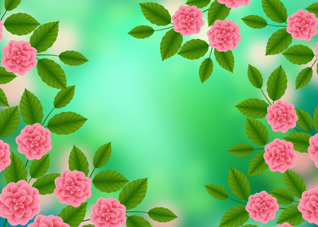 Floral Pattern with of Blooming Pink Roses on Green Blurred Bokeh Background. Wildflowers and Peonies bouquet. Vector illustration.