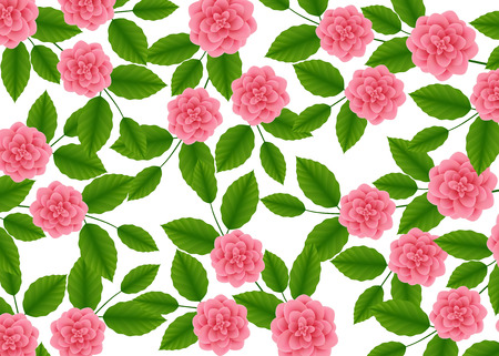 floral pattern with of Blooming pink roses on white background. Wildflowers and Peonies. Vector illustration.