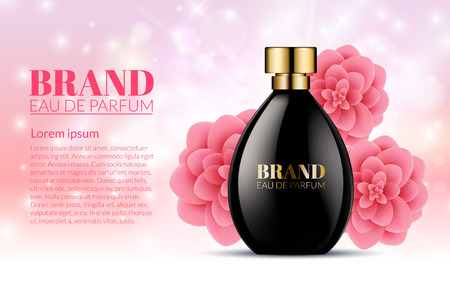 pulverizer: Beautiful Black Bottle Womens Perfume Products With Spring Pink Flowers on Blurred Light Bokeh Background. Aroma Liquid. Cosmetic Fragrance. Baner Template on your text. 3d Vector Illustration Illustration
