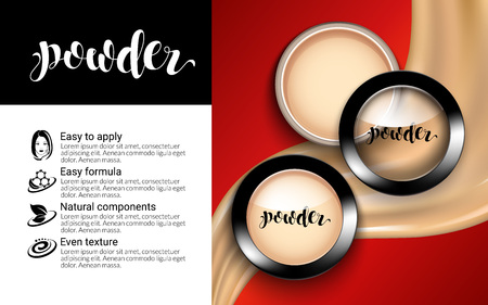 Glamorous Fashion Face Cosmetic Makeup Powder in Black Round Plastic Case Top View ads elegant. flowing liquid texture. Package Design Promotion Product. Advertising Catalog. 3D Vector Illustration.