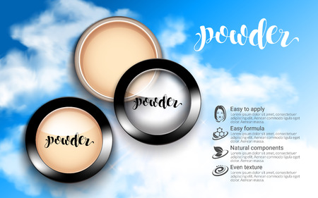 Glamorous Fashion Face Cosmetic Makeup Powder in Black Round Plastic Case Top View ads. flowing liquid texture. sky blue background. Advertising Banner Billboard. 3D Vector Illustration. Illustration