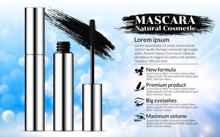 Luxe mascara penseel zilveren verpakking met wimperapplicator Cosmetica Reclamebanner Billboard Poster Catalogus. Pakketontwerp Promotie Product blauwe achtergrond. 3D-vectorillustratie. Stock Illustratie