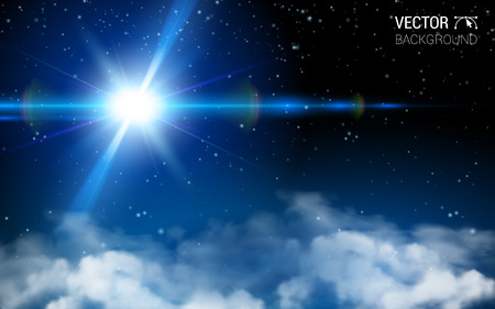 starfield: Stars Space Infinity Abstract Universe. Blue Shining. Effect Realistic Design Elements. Vector Illustration Modern Background?