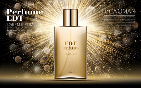 見事にリアルな金女性な香水ボトル モックアップの背景します。黄金のボケ味。スクエア ガラス模擬で含まれています。優秀な広告。化粧品設計の  イラスト・ベクター素材