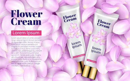 Pink Cream tube on Soft Background with Pink Petals Flowers. Excellent Advertising, Gentle Creams. Cosmetic Package Design Sale or Promotion New Product. 3D Vector Illustration. Illustration