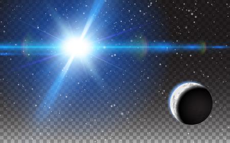 Planeten-glänzender Sun-Zusammenfassungs-Raum spielt Mond die Hauptrolle. Realistische Designelemente. Vektor-Illustration transparenten Hintergrund.